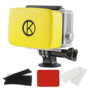 GoPro Floaty by CamKix® Removable Float for GoPro Backdoor - Includes Waterproof Adhesive, High Quality Waterproof Velcro, 1 Pair of Anti-Fog Inserts - Compatible with GoPro Hero 4, 3+, 3, 2, 1 (Yellow)
