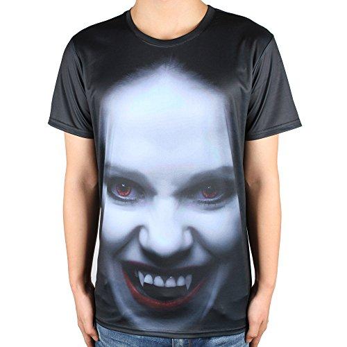 怖い ウーマン プリント メンズ ブラック ラウンドネック Tシャツ M