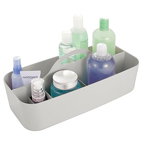 InterDesign Clarity Cosmetic Organizer Tote for Vanity Cabinet to Hold Makeup, Beauty Products - Light Gray