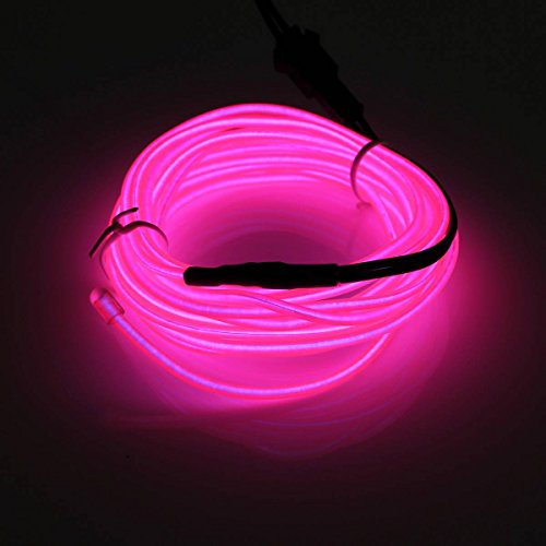 SOLMORE 2M 5V Flexible Neon Glowing EL Wire Light + USB Controller Dance Party Light Xmas Decor-Pink
