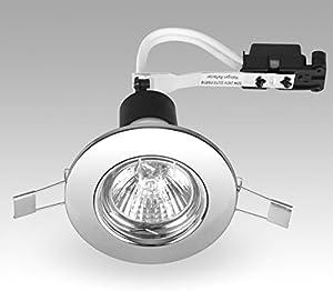 Satin Chrome GU10 Lamp Holder Fittings 240v Mains Recessed Ceiling Spot Light Downlight from Auraglow