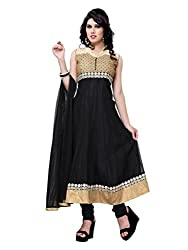 Diva Fusion Womens Net Anarkali Semi-Stitched Dress Material (Dfa117 _Black)