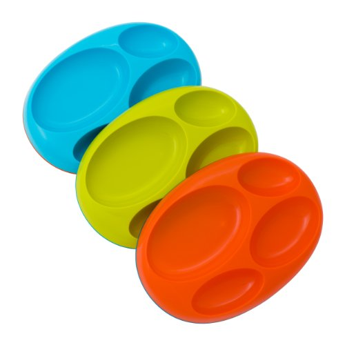 Boon Platter Edgeless Nonskid Divided Plate, Blue/Orange/Green includes 3 pieces (Boon Baby Dish compare prices)
