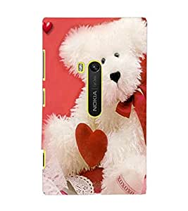 PrintDhaba Teddy with Heart D-1004 Back Case Cover for NOKIA LUMIA 920 (Multi-Coloured)