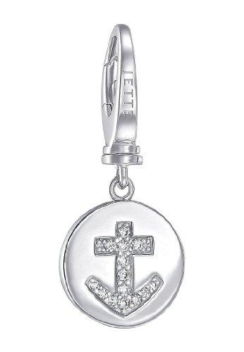 JETTE Charms Damen-Charm Mini Charm Kreuz 925er Silber 14 Zirkonia One Size, silber