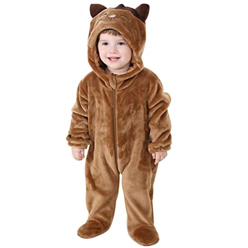 [Baby Boys Girls Winter Flannel Animal Hooded Romper Cute Jumpsuit] (Raccoon Girl Costumes)