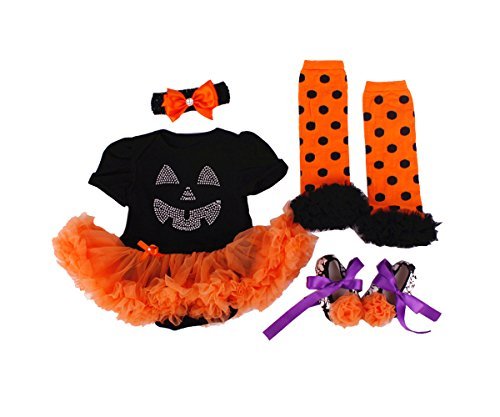 TANZKY® Baby Girls' Costume Newborn Halloween Pumpkin Rompers Tutu Dress (4pcs)