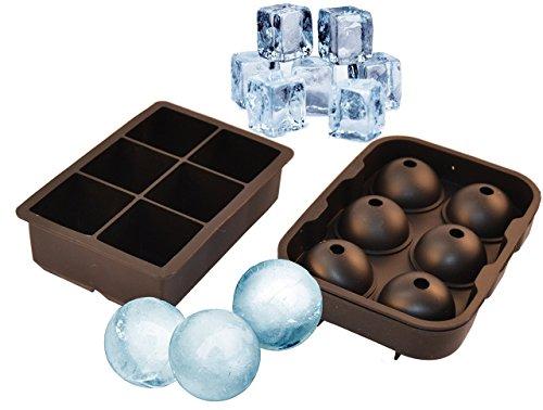 UnicGlam Combo Large Square Silicone Big Ice Cube Tray & Round Ice Ball Sphere Mold Set