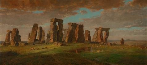 High Quality Polyster Canvas ,the Replica Art DecorativePrints On Canvas Of Oil Painting 'Jasper Francis Cropsey,Stonehenge,1876', 12x27 Inch / 30x69 Cm Is Best For Gym Decor And Home Decor And Gifts (Stonehenge Cookware compare prices)