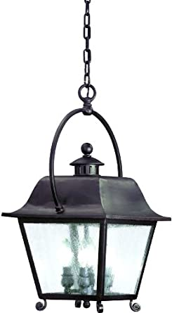 Troy Lighting F9446NB Bristol Collection 4-Light Exterior Hanging Lantern, Natural Bronze Finish with Clear Seeded Glass