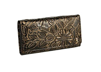 Anthoni Crown Leather Wallet Black-Gold flowers purse, clutch