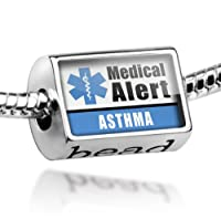 "Neonblond Beads Medical Alert Blue ""Asthma"" - Fits Pandora Charm Bracelet from NEONBLOND Jewelry & Accessories"