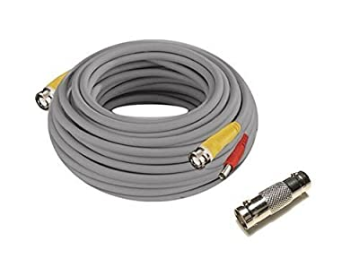 Iseeusee 100 Feet Pre-Made In-wall Fire Rated Siamese BNC Video Power CCTV Security Camera Cable with One Female Connector for 960H & AHD & HD-CVI 720P/ 1080P Camera and HD DVR Surveillance System