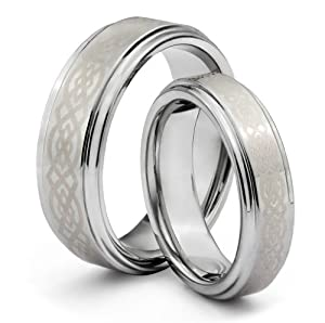 His & Her's 8MM/6MM Tungsten Carbide Wedding Band Ring Set w/Laser Etched Celtic Design (Available Sizes H - Z+2) EMAIL US WITH YOUR SIZES by TWG