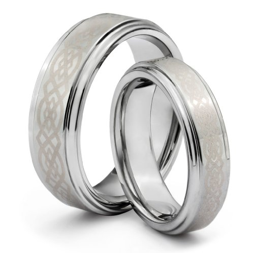His  &  Her's 8MM/6MM Tungsten Carbide Wedding Band Ring Set w/Laser Etched Celtic Design (Available Sizes H - Z+2) EMAIL US WITH YOUR SIZES