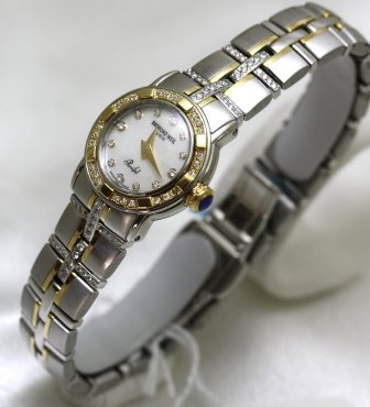 Raymond Weil Watches Raymond Weil Parcifal Steel and 18k Gold Mother of Pearl Dial Diamond Hour Markers Diamond Bezel and Bracelet Swiss Limited Edition (Size Mini) Women's Watch