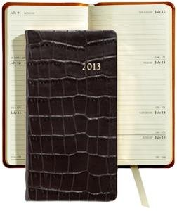 "2013 Croco-Embossed BLACK 6"" Pocket Datebook Diary in Fine Calfskin Leather by Graphic Image – 3.120×6"