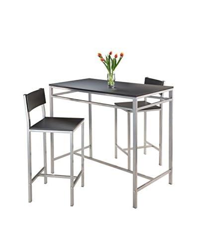 Luxury Home Hanley Modern 3-Piece High Table Set, Black/Metal