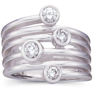 14K White Gold Diamond Right Hand Ring: 5/8 CT TW Size: 11