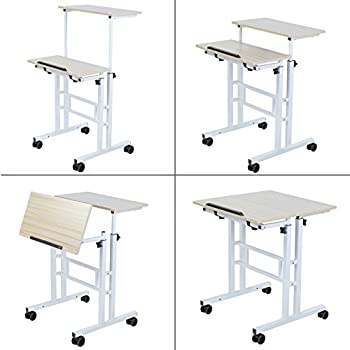 SDADI 2 Inches Carpet Wheel Mobile Stand Up Desk Height Adjustable Home Office Desk With Standing and Seating 2 Modes 3.0 Edition Light Grain
