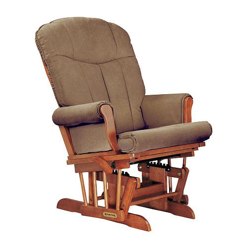 Shermag Deluxe Glider Chablis Finish With Coffee Fabric front-652790