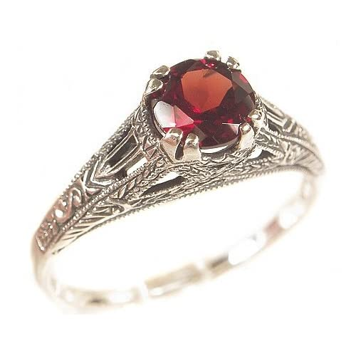 Sterling Edwardian Filigree Garnet Ring