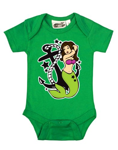 Mermaid Tattoo Nautical Green One Piece 0-3 Months front-1037465