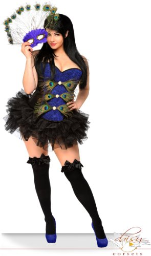 Daisy corsets Women's Pin-Up Peacock Mardi Gras Costume (3 Pack)