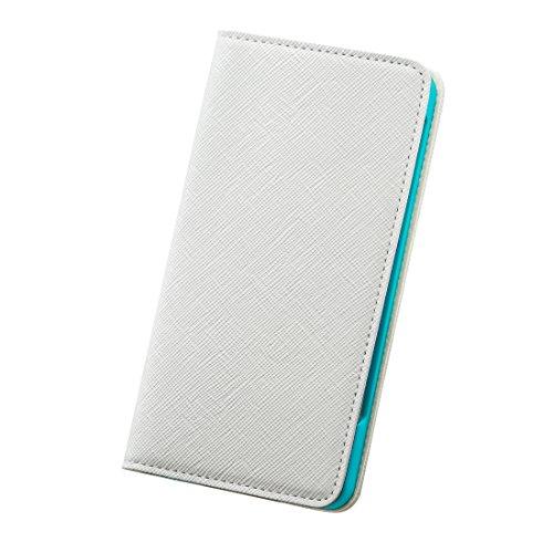 modaMania 【 iPhone6Plus 】 本革 イタリアンレザー サフィアノ 型押し 手帳型 ケース 【CH】 (iPhone6Plus, ホワイト)