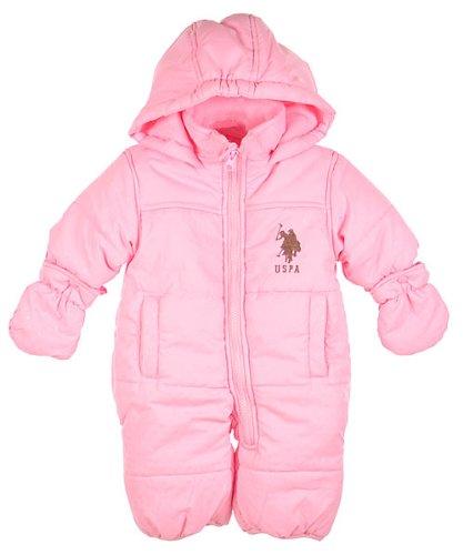 "U.S. Polo Assn. ""Shadow Dot"" 1-Piece Snowsuit (Sizes 3M - 6M) - light pink, 3 - 6 months"