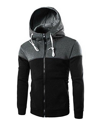 allegra-k-uomo-colore-a-blocchi-cordino-canguro-tasca-zip-frontale-giacca-cappuccio-sintetico-nero-1