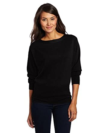 Magaschoni Women's 100% Cashmere Boat Neck Sweater, Black, Small