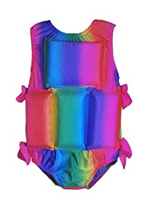 Girls Floating Bathing Suit Flotation Swimsuit (Medium, Rainbow Tie Dye)