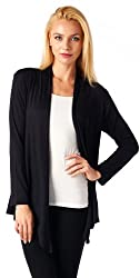 Popana Super-Soft Open Front Drape Cardigan - XL Black Made In USA