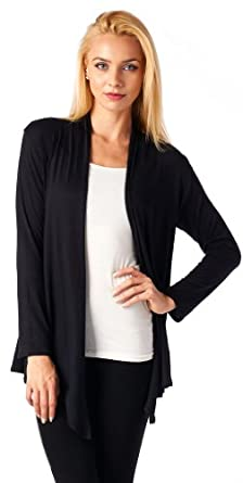 Popana Super-Soft Open Front Drape Cardigan - Medium Black Made In USA