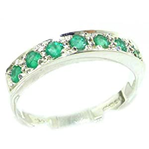 Solid English 9ct White Gold Ladies Natural Emerald Eternity Band Ring - Size L 1/2 - Finger Sizes K to Z Available - Perfect gift for Anniversary, Engagement, Wedding