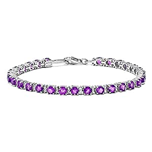 Sterling Silver Amethyst and Diamond Bracelet, 7 inches, Quality Bracelets For Women, Fine Jewelry