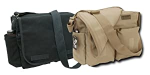 Rapid Dominance Classic Military Messenger Bag (19 inch, 2 Pack - Black and Kahki)