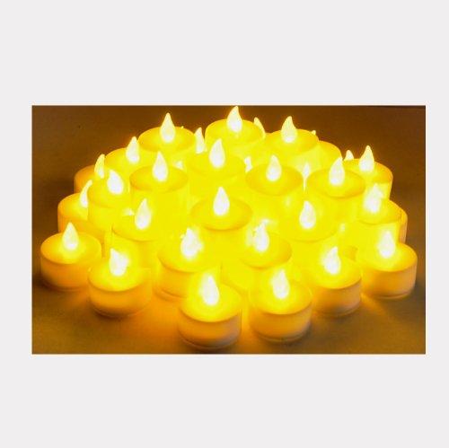 EZI 48 Pcs Flameless Flickering LED Tealight Candle Amber Light for Wedding