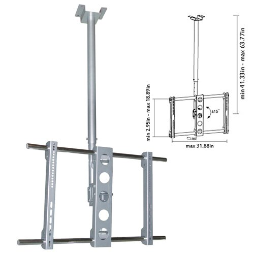 """Cmple - Heavy-Duty Ceiling Mount For Led, 3D Led, Lcd, Plasma Tv'S -37-63"""" Up To 165 Lb"""
