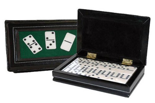 StealStreet SS-CQG-2530 Black/Cream Color Double 6 Standard Domino Tiles in Leatherette Case
