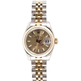 Rolex Ladys New Style Heavy Band Stainless Steel & 18K Gold Datejust Model 179173 Jubilee Band Fluted Bezel Champagne Stick Dial