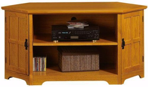 Cheap Craftsman Corner Wood door Wide screen Tv Stand With Open Storage (B001XZXJCC)
