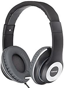 Ausdom F01 Lightweight Over-ear Wired Stereo Headphones with Built-in Mic for Hands-free calling on PC MP3 MP4 iPod iPhone iPad Tablet (Black)