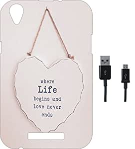 BKDT Marketing Printed Soft Back Cover Combo for Lava X3 With Charging Cable