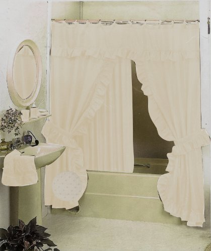 Captivating New Double Swag Fabric Shower Curtain Set Beige Bone Valance