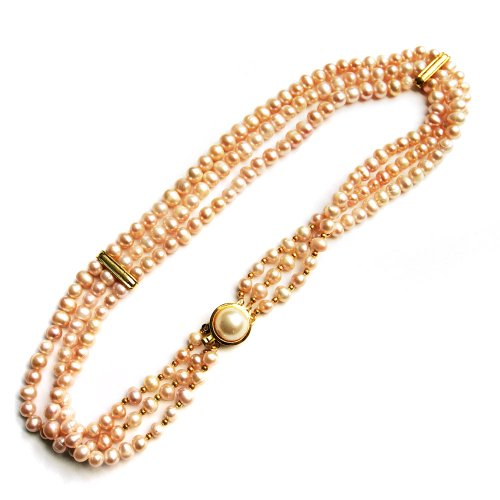 3 Strand Freshwater Cultured Pink Pearl Necklace