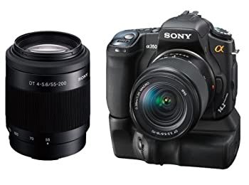 Sony (alpha) DSLR Camera Limited Edition Bundle DSLA350K 14.2MP Digital SLR Camera with Super SteadyShot Image Stabilization DT 18-70mm f/3.5-5.6 Zoom Lens + Sony SAL55200 55-200mm f/4-5.6 DT ED Compact Telephoto Zoom Lens + Sony VG-B30AM Vertical Grip + Sony ACC-AMFM11 Accessory Kit + Two (2) 3-PC Pro Series Filter Kits + Two (2) Transcend 8GB 133x Compact Flash Memory Cards