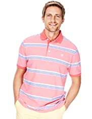 "2"" Longer Blue Harbour Pure Cotton Triple Striped Polo Shirt"