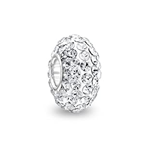 Bling Jewelry Sterling Silver Shamballa Inspired White Swarovski Crystal Bead Fits Pandora